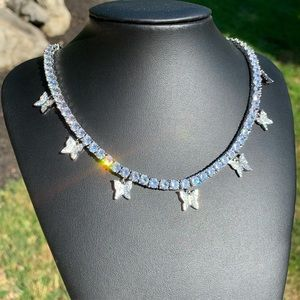 Jewelry - White Gold Butterfly Tennis Chain Choker Necklace